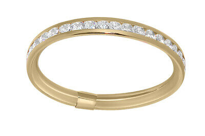 14k Yellow Gold Channel-set Round-cut Cubic Zirconia Thin Eternity Band