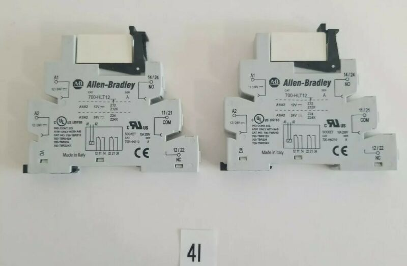 LOT OF 2 Allen Bradley B 700-HLT12 Terminal Block Relay  24VDC  W/ 700-TBR224