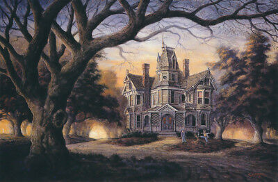 Victorian House Fall Autumn Halloween Haunted Football Cat SIGNED Art by Souders