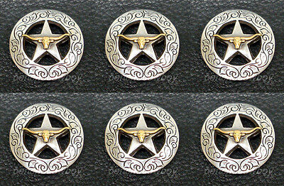 Set of 6 WESTERN SADDLE GOLD LONGHORN STEER STAR CONCHOS 1-1/8""
