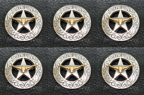 Set of 6 WESTERN HORSE SADDLE TACK GOLD LONGHORN STEER STAR CONCHOS 1-1/8""