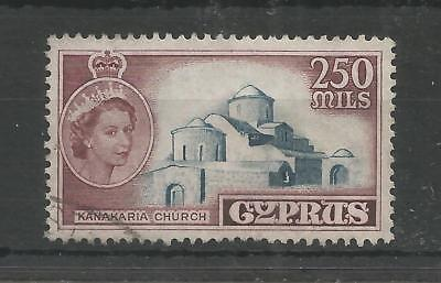 CYPRUS 1955 DEFINITIVE HIGH VALUE 250m SG,185 F/USED LOT 7721A
