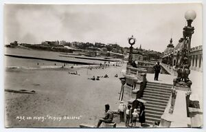 Antique Real Photo Postcard Mar Del Plata Playa Bristol Beach Argentina