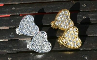 Clip-on sparkling crystal earrings, silver or gold, heart shape design, 2 sizes ()