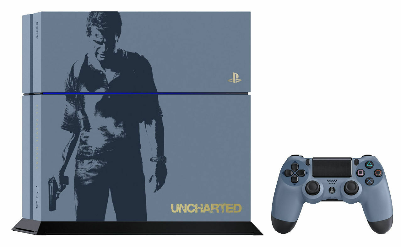 Sony Playstation 4 Uncharted Limited Edition Bundle 500gb Gray Slim Hits Jet Black Region 3 Stock Photo
