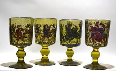 Large Antique Hand Blown Glass Goblets with Enamel Paintings, Set of Four