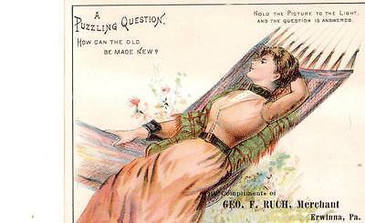 Htl Hold To Light  Geo  F  Rich  Merchant Erwinna  Pa  Postcard