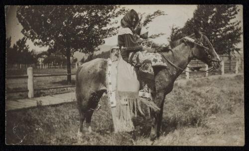 c1900 photo NATIVE AMERICAN woman on HORSEBACK holding PLAINS? INDIAN BABY