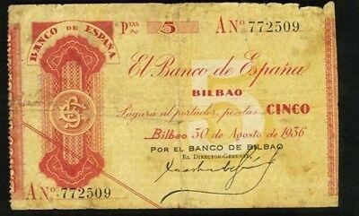 1936 Bilbao 5 Pesetas Spain  Banco De Espana  Sn  An  772509