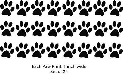 Paw Print Decals (Paw Print Bundle Cat Dog Pet Prints Set Of 24 Decal Window Bumper Sticker)