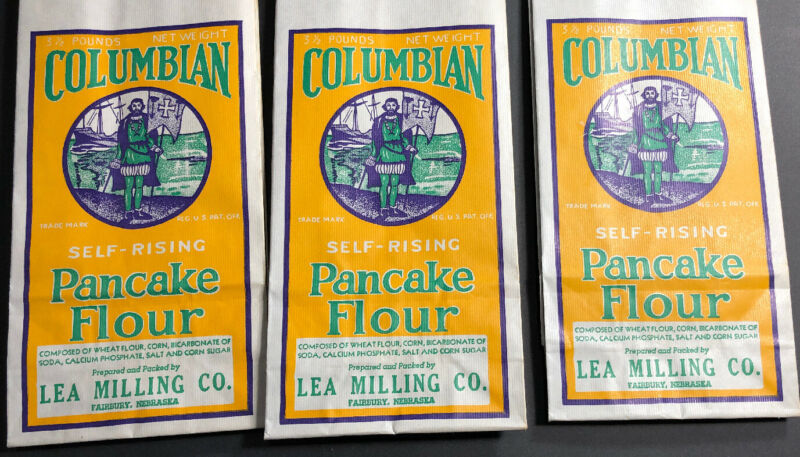 Lot Of 3 Columbian Pancake Flour Paper Bag Sack Pirate Fairbury Nebraska Christo