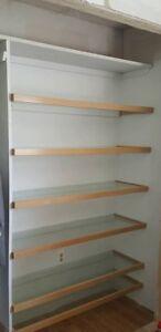 Wooden Trimmed Glass Shelves