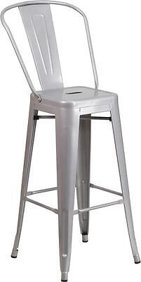 Silver 30 Seat Height Restaurant Metal Bar Height Stool
