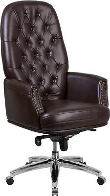 Conference Table High Back Tufted Brown Leather Multifunction Swivel Chair