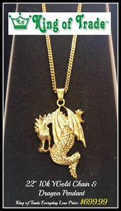 10k YGold Dragon Pendant & Necklace - King of Trade