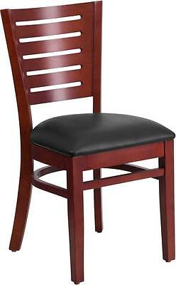 Lot Of 30 Slat Back Mahogany Wooden Restaurant Chairs With Black Vinyl Seats