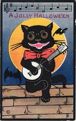 HALLOWEEN POSTCARD, H. M. ROSE - BLACK CAT WITH RED BOW PLAYING BANJO