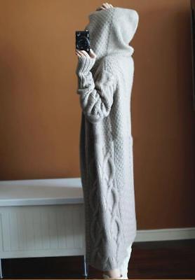 Womens Designer Inspired Cashmere Hoodie Long Oversized Knitwear Cardigan