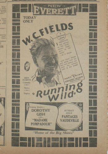 W.C. Fields, Running Wild, 1927 Original Newspaper Movie Ad