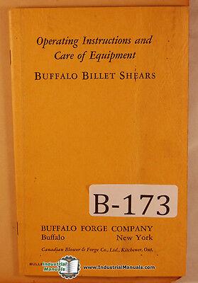 Buffalo Billet Shear Operations And Parts Manual