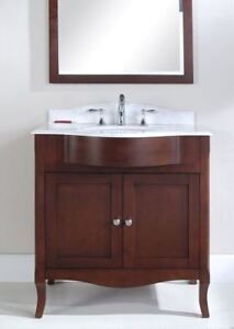 "Dark Coffee comtemporary vanity set with 30"" ceramic top"