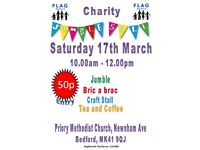 Charity Jumble sale in aid of FLAG Bedford. 50p entry.