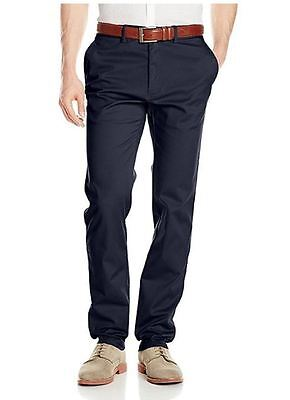 Haggar Men's Sustainable Flat Front Stretch Straight Fit Chino Pants Navy 32X32