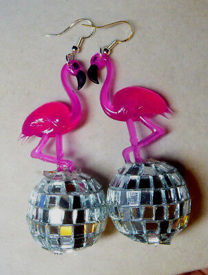BIG PINK FLAMINGO & 70s and 80s  EARRINGS Glass Silver DISCO BALL LUAU PARTY USA](80s Disco Ball)