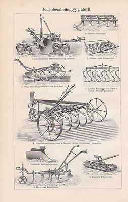 Landwirtschaft Pflug Dampfpflug Kultivator Egge HOLZSTICHE von 1908 Geräte