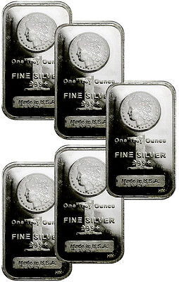 Lot of 5 - 1 Troy Oz Silver Bars .999 Fine - Morgan Dollar Design SKU29507