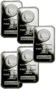 Lot of 5 - 1 Troy Oz Silver Bars .999 Fine - Morgan Dollar Design SKU29507