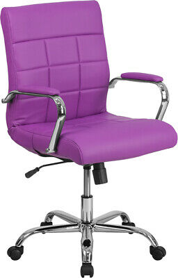 Mid-back Purple Vinyl Executive Swivel Office Chair With Chrome Base Arms