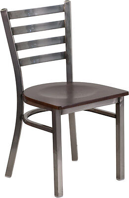 Lot Of 20 Clear Coated Ladder Back Metal Restaurant Chair - Walnut Wood Se