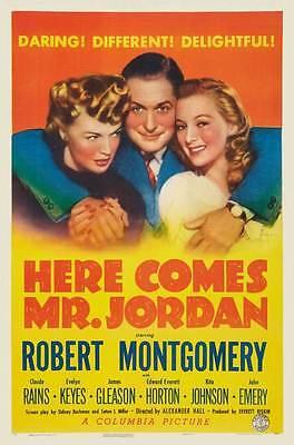 HERE COMES MR. JORDAN Movie POSTER 27x40 D Charles Boyer Margaret Sullavan