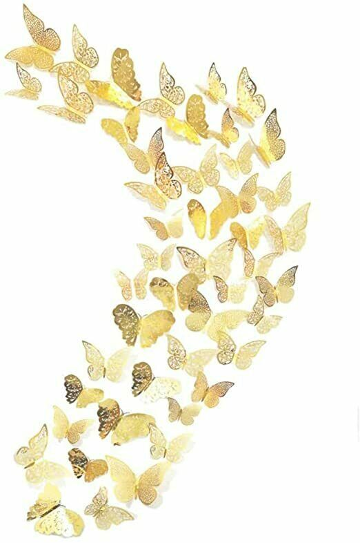 Butterfly decoration 48 pieces, 3D wall stickers, Metal art stickers
