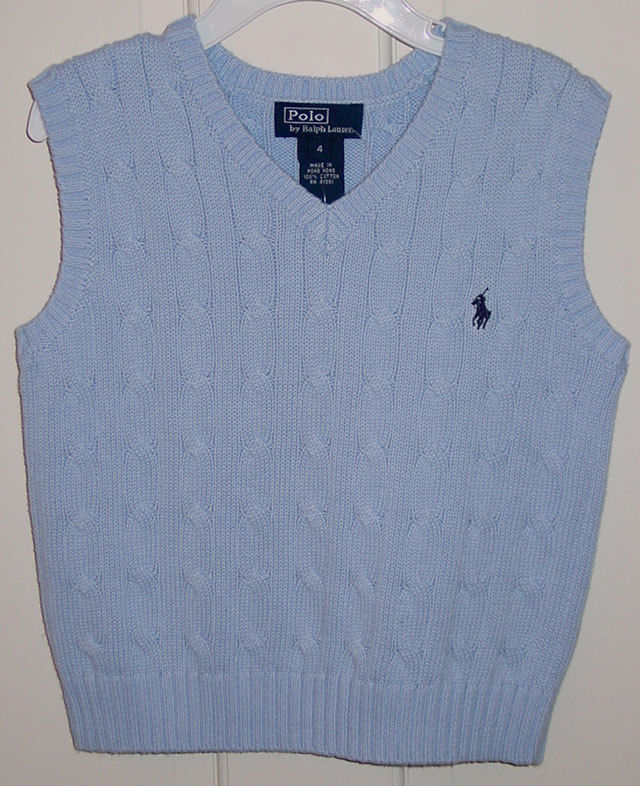 RALPH LAUREN POLO BOYS LIGHT BLUE CABLE KNIT SWEATER VEST SIZE 5 NEW WITH TAGS