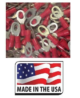 (100) 22-18 RED VINYL RING MULTI STUD SIZE #6 #8 #10 ELEC CONNECTOR MADE IN USA