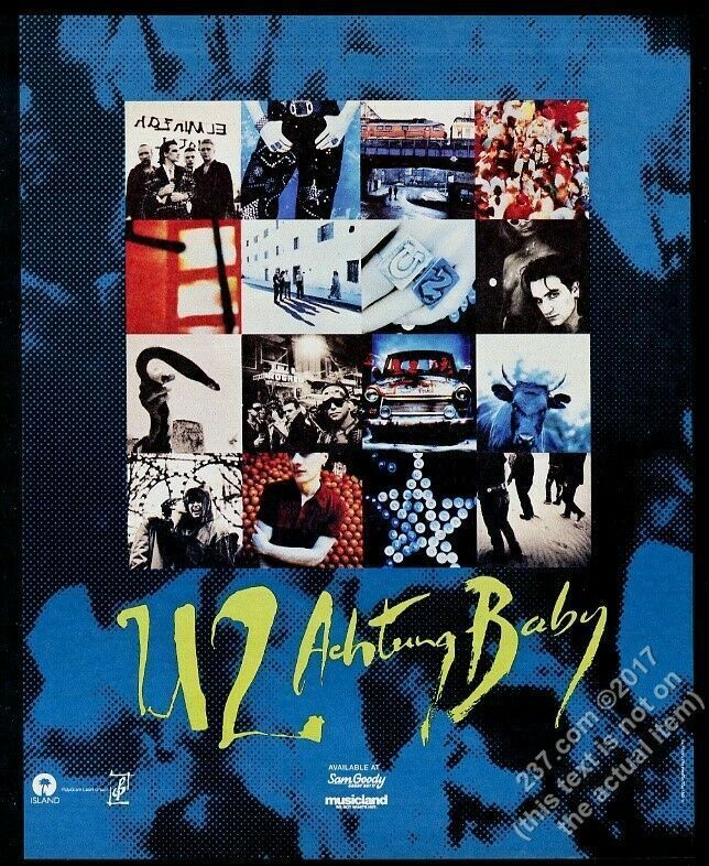 1991 U2 Achtung Baby album release multi photo vintage print ad