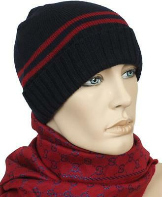 NEW GUCCI NAVY BLUE RED STRIPE SOFT LANA WOOL BEANIE HAT 59/LARGE Blue Stripe Wool Hat