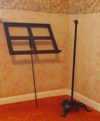 Antique Cast Iron Ornate Oak Music Book Stand Original Paint adjustable black
