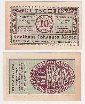 10 Pfennig NOTGELD Kaufhaus Johannes Meyer Hamburg Heussweg 95 1.6.1920 (114775)