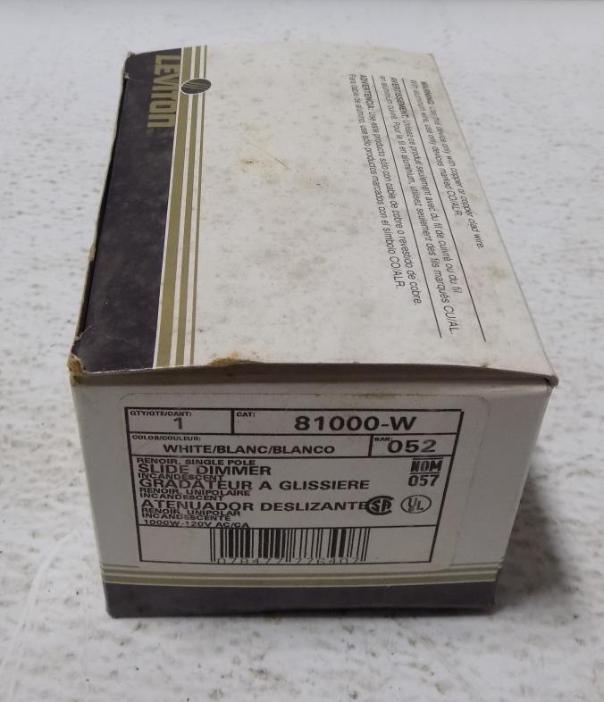 LEVITON 1000W 120VAC WHITE SLIDE DIMMER 81000-W NIB