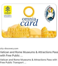 Omnia fast track passes for Rome. Guarantees you fast track entry to the main attractions.