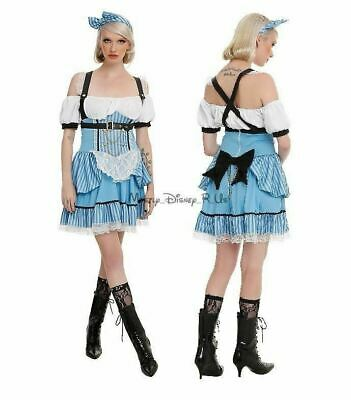 New Disney Alice Steampunk Cosplay Costume Dress Juniors XS With Headband & Bow - Steampunk Alice In Wonderland Costume