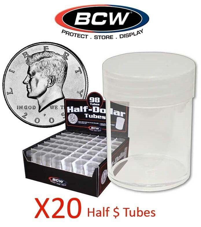 Lot of 20 BCW Coin Tubes #CS134 Half Dollar