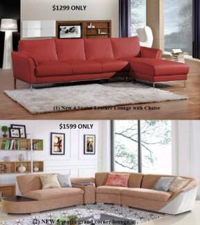 NEW LEATHER SOFA LOUNGE FOR CLEARANCE SALE