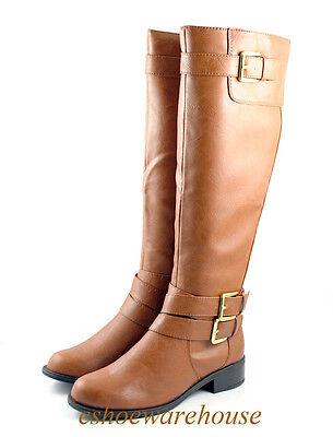 Cognac Tan  Cutie Comfy Riding Style Flat  Knee High Boots Tall
