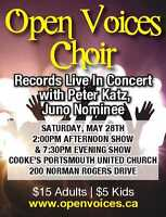Open Voices Choir Sings with Peter Katz Juno Nominee May 28th