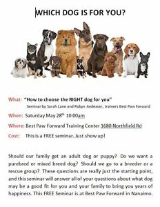 How to choose the RIGHT dog for you (& your family) FREE SEMINAR