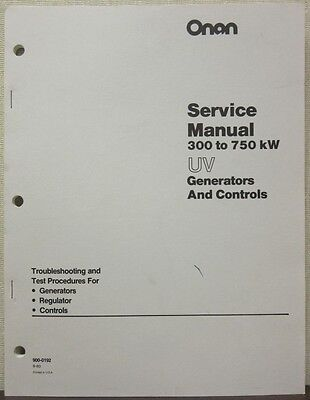 Onan 300 To 750kw Uv Generators Controls Service Manual 900-0192